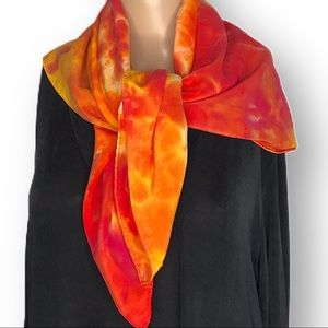 Hand dyed large silk scarf